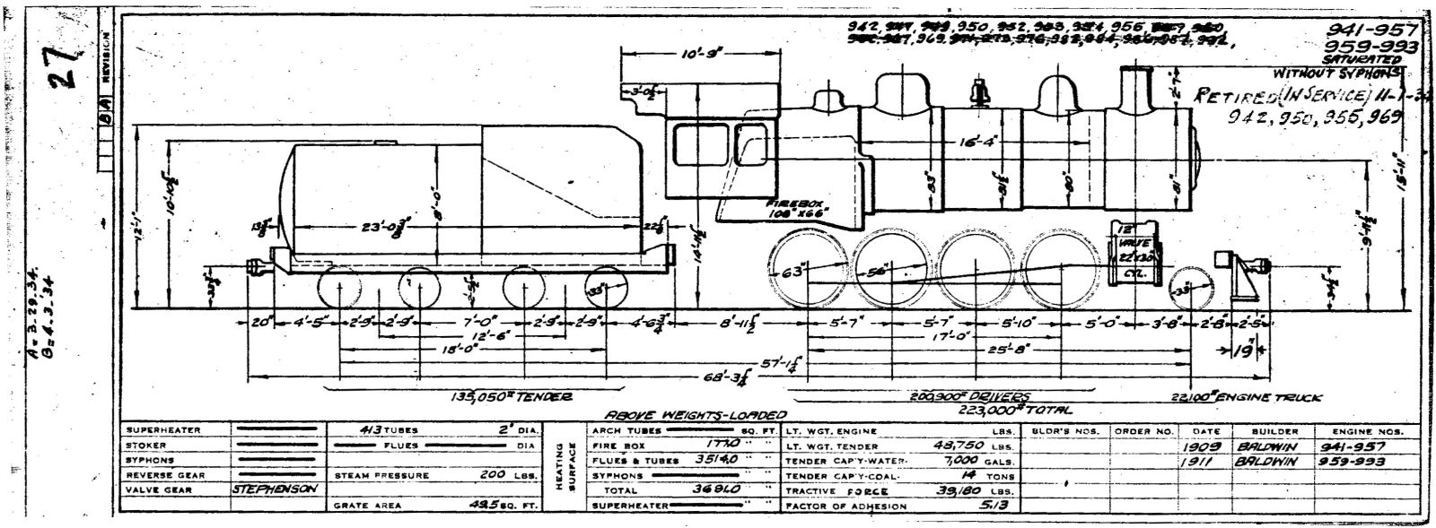 Illinois Central 1937 Locomotive Diagrams 427 Engine Diagram 17 Locomotives